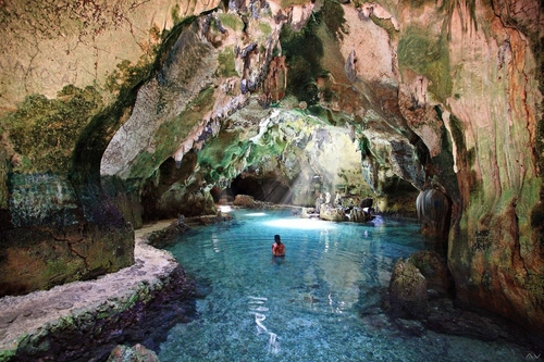 pool of water inside the Bukilat Cave in Camotes Island