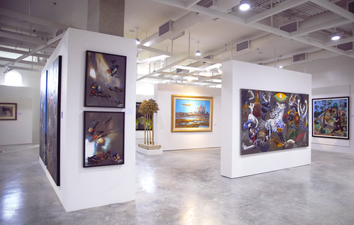 paintings placed on a wall at Iloilo Museum