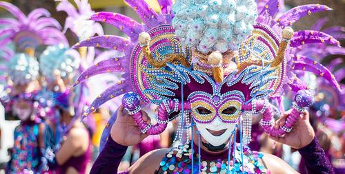 Girl wearing mask for Bacolod Maskara Festival
