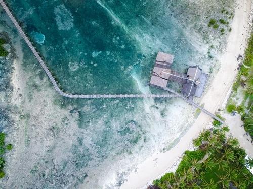 Aerial shot of a shore in Siargao