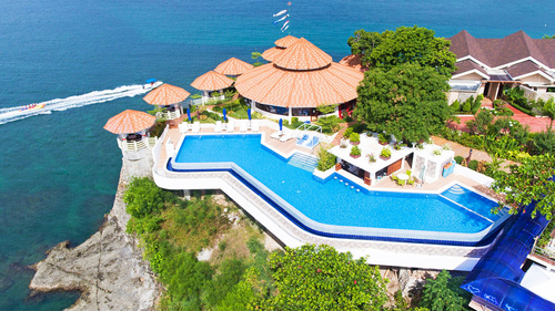 swimming pool and resort on the cliff