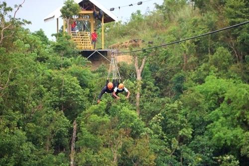 two person ziplining at palompon eco-terrestrial adventure park